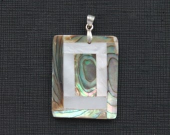 Beautiful Abalone White Shell Tile Pendant