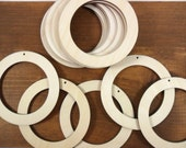 """20 Circle Rings 2 3/4"""" (6.9cm) x 1/2"""" (1.2cm) x 1/8"""" (0.32cm) Thick with 1 3/4"""" (4.4cm) cut outEarring Pendant Unfinished Laser Cut Wood"""