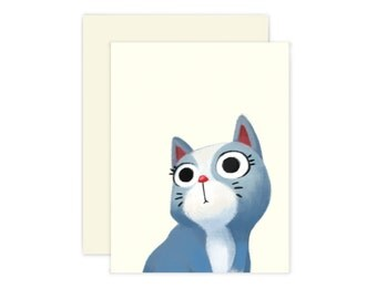 Blue Cat Blank Card