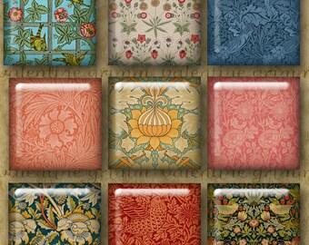 1 inch Digital Printable Squares WILLIAM MORRIS Arts & Crafts Patterns for making Pendants Cufflinks Magnets Crafts