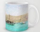 Art Coffee Cup Mug At Sea 1 Photography Java Lovers decor photo photograph Mediterranean texture ocean aqua sky blue beach nautical decor