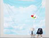 Cloud Tapestry - Balloon Wall Hanging - Rainbow Color - Sky Tapestry - Sky Blue photography - home decor