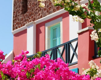 Large Greece Photo - Architecture Photograph - Pink Peach Turquoise Photo - Mediterranean Photo - House Photo Print - Hot Pink Flowers