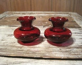 Two Small Anchor Hocking Royal Ruby Vases