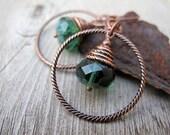 Copper Hoop Earring Czech Picasso Glass Teal Blue Emerald Green Bohemian Jewelry Antique Copper Hippie Style Boho Bijoux Silk Road