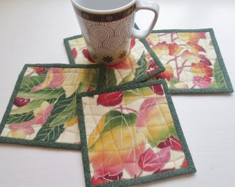 Quilted Fabric Leaf Coasters - Set of 4