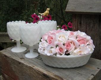 4 Milk Glass Honeycomb Vases - Wedding Centerpieces - Oak Hill Vintage