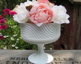 E O Brody White Milk Glass Swirl Compote - Wedding Centerpiece - Oak Hill Vintage