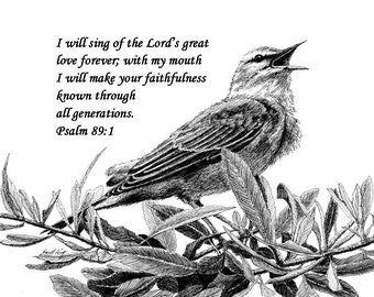 Songbird Drawing with Scripture