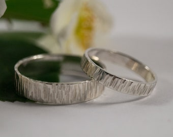White Gold Bark Wedding Bands: A Set of his and hers 9k White Gold wedding rings