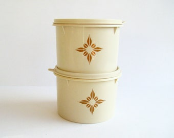 2 Beige Tupperware Canisters, Pantry Containers, Kitchen Storage, Retro Kitchenware, Australian Tupperware, Triangle Flower Motif