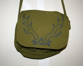 Deathly Hallows Purse Army Green Bag with Antlers Harry Potter