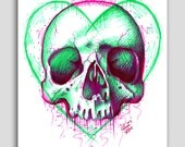 Hand Signed 18x24 inch Poster Sized Art Print - Neon Death III by Carissa Rose - Colorful Pop Art Tattoo Skull Illustration