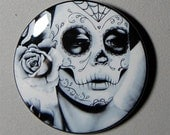 2.25 inch Pin Back Button - Felicity - Day of the Dead Sugar Skull Girl Calavera Black and White Tattoo Flash Gothic Lolita Skeleton Pin