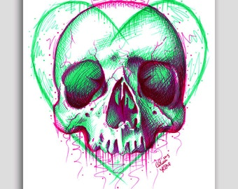 30 PERCENT OFF Hand Signed 18x24 inch Poster Sized Art Print - Neon Death III by Carissa Rose - Colorful Pop Art Tattoo Skull Illustration