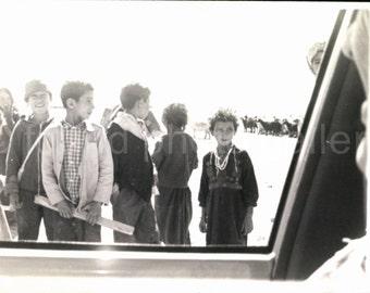 Vintage Photo, Bedouin Children Seen from Car Window, Black & White Photo, Travel Photo, Negev Desert, Israel, Minox Print