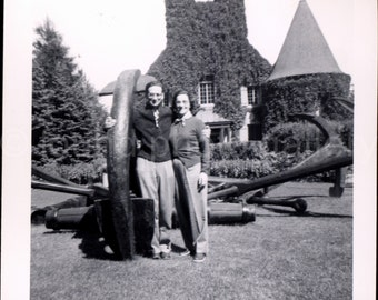 Vintage Photo, Young Couple Next to Sculpture, Ivy Covered Building, Black & White Photo, Found Photo, Old Photo, Snapshot    AUGUSTINE0565