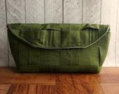 Moss green clutch bag, fall fashion, autumn, olive green clutch, silk clutch, woven clutch purse