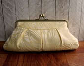 Light gold framed Evening bag, brocade clutch, formal clutch, Cream and Gold Peacock Clutch Purse, Feather clutch