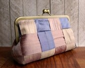 Pastel purse, silk clutch in rose, pink, and purple, Pink clutch, purple clutch, Berries and Cream Clutch, multi colored, kisslock purse