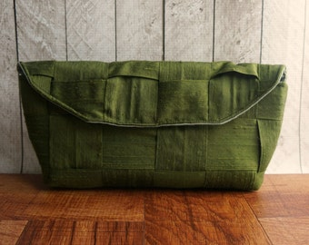 Moss green clutch bag, fall fashion, autumn, olive green clutch, silk clutch, woven clutch purse