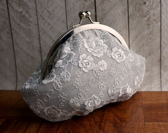 Silver silk clutch with flower lace overlay, personalized clutch, platinum gray clutch, small clutch purse with wrist strap