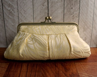 Light gold framed Evening bag, brocade clutch, formal clutch, Cream and Gold Peacock Clutch Purse, Feather clutch