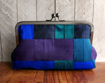 Peacock clutch, woven silk clutch, blue, teal, purple, Peacock wedding, luxury gift for her