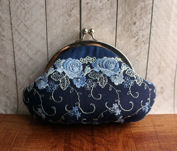 Blue silk clutch with light blue lace overlay, personalized clutch, lace clutch, Navy blue clutch, kisslock clutch wristlet,