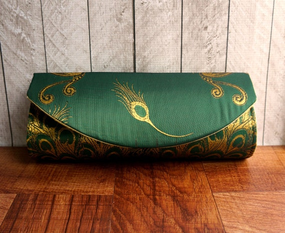 Emerald green clutch, green and gold peacock clutch purse. Peacock wedding