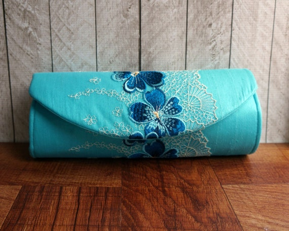 Turquoise clutch, silk clutch bag with embroidered lace overlay, Lace clutch, summer fashion.