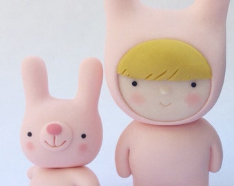 Bunny Girl and Bunny Friend Polymer clay figures