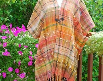 Ruana, Handwoven Ruana, Saori style wrap, handwoven shawl, Serape style garment