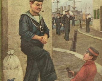 Sailor Gets a Shoe Shine ~ Original Color Print Bookplate from 1909 Chatterbox Book – Entitled Shine Sir?