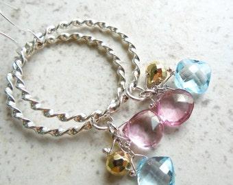 Twisted Sister Hoop Earrings Blue and Pink Topaz