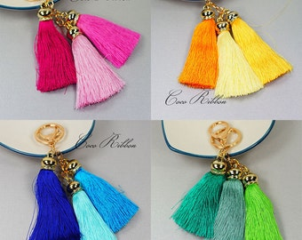 Silk Tassels Alloy Gold Pendant Charm Key Chain Ring Keychain
