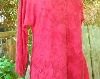 Holiday Sale...Special Price Through November 14! Raglan Tunic Cranberry Hand Dyed Hemp & Organic Cotton Women's Available in 4 Sizes
