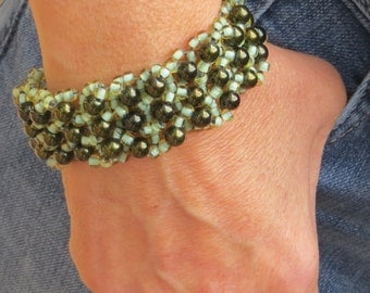 Woven Beaded Wide Cuff Bracelet Dark and Light Green Button Clasp