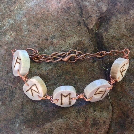 Freyr Rune Antler Copper Bracelet Norse Heathen Asatru