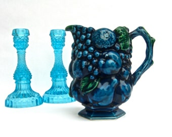 Vintage Inarco Blue Grape Pitcher or Jug, Made in Japan 2429, Retro 60s Decor, Deep Teal Green