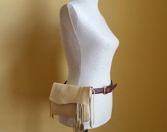 cream white leather handbag, hip bag belt bag with leaf fringe by Tuscada. ready to ship.