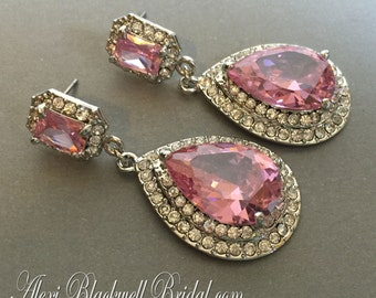 Blush Bridal Earrings in Pink Rhinestone Long and Elegant Wedding jewelry Sparkling pear shaped formal party