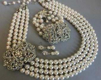 Complete Bridal Jewelry Set Pearl Necklace Bracelet and Earrings 4 multi strands Swarovski Pearls Art Deco Rhinestone brooch wedding jewelry