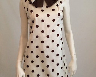 Bold Sassy and Super Cute 60's Brown and White Polka Dot Mini with Big Brown Bow