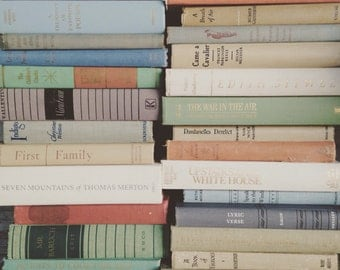 Vintage Books by the Foot Instant Library Decorative Book Stack 25 Custom Muted Neutral Tones for Wedding, Bookshelves , Display Etc.