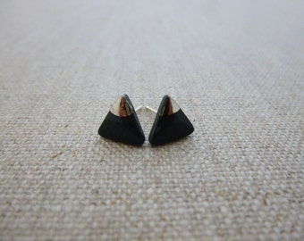 Small Mountain Triangle Studs with Platinum Triangle