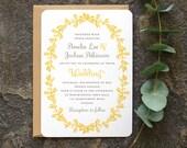 Antique French Wedding Invitation / 'Vintage Wreath' Elegant Rustic Wedding Invite / Yellow Grey Gray / Custom Colors Available / ONE SAMPLE