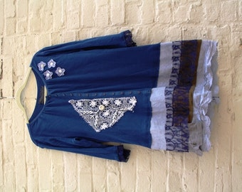 Poetic Charm Tunic / Top /Dress / Shabby Chic / Eco / Medium/ Rustic / Upcycled / Boho / Country living / Cottage Chic