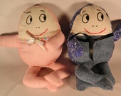 Vintage Handmade Humpty Dumpty Dolls  His and Hers  Soft Toys  Plushies