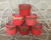 6 Handpainted Shades of Coral Fruit Jars with a Distressed Faux Finish